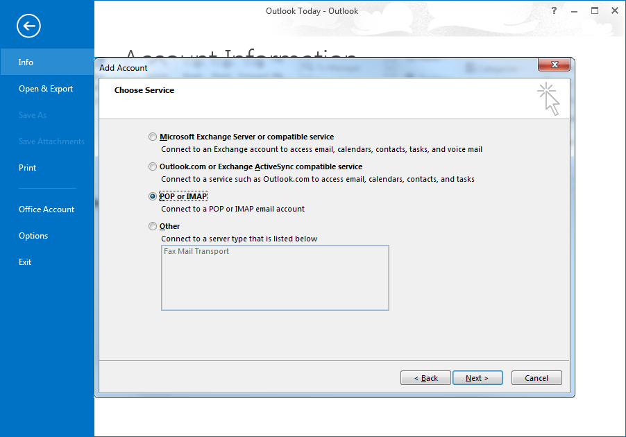 Configuring Outlook 2013 / 365 for secure email access
